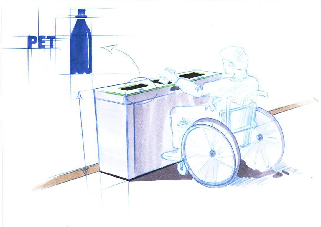 Design Recyclingstation Multilith, Abfalltrenner, Wertstofftrenner Barrierefreier Abfallbehälter