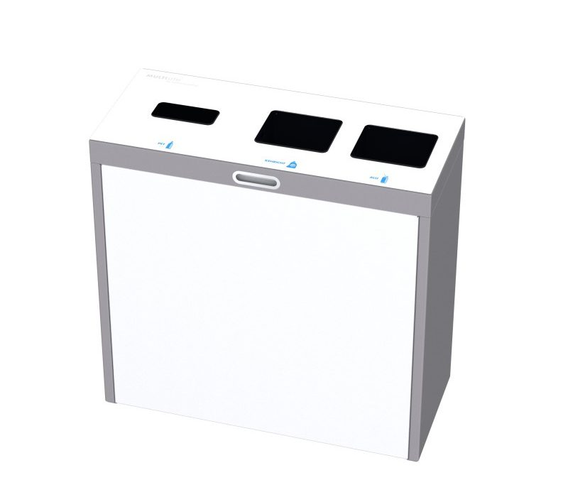 Recyclingstation Multilith 3.0, Recycling Station, Wertstofftrenner, Entsorgungssystem, Abfallbehälter, Müllbehälter, Recyclingbox, 110l, PET, public waste bins
